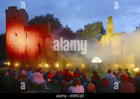 spook festival in castle ruin Hardenstein, Germany, North Rhine-Westphalia, Ruhr Area, Witten - Stock Photo