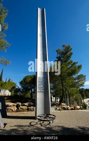 Pillar of Heroism in Yad Vashem memorial museum for holocaust Jews victims in Jerusalem Israel - Stock Photo