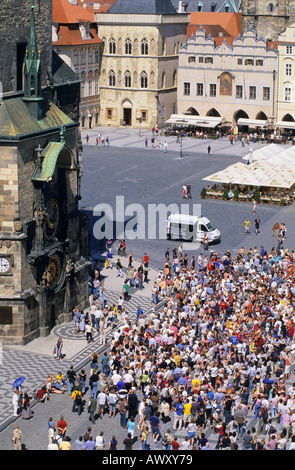 CZECH REPUBLIC PRAGUE OLD TOWN SQUARE CROWDS OF TOURISTS WATCHING ASTRONOMICAL CLOCK - Stock Photo