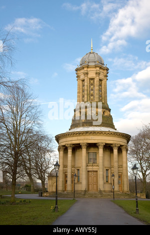 The round Congregational Church of Saltaire is now the United Reformed Church. Saltaire industrial World Heritage - Stock Photo