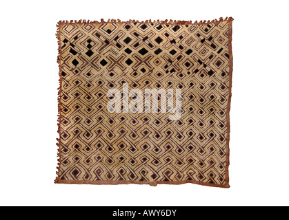 Woven raffia textile from The Democratic Republic of Congo (DRC, formerly known as Zaire). From the Kuba tribe. - Stock Photo