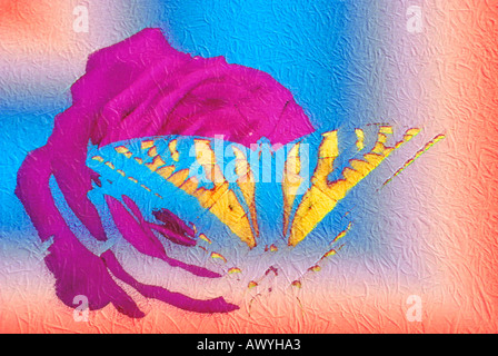 abstract computer graphic butterfly on rose with gradient colored thatched roof background - Stock Photo