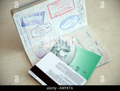 Passport and credit cards - Stock Photo