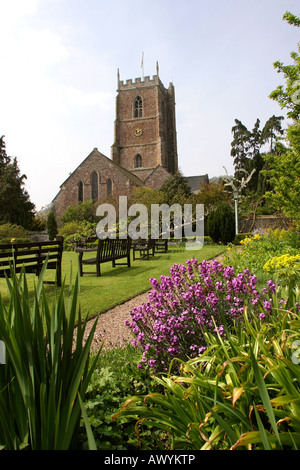 Somerset Dunster Saint Georges Church from the Village Garden - Stock Photo