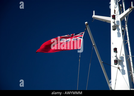 red ensign On The P O Ferry Pride of Bilbao - Stock Photo
