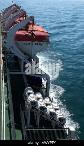Lifeboats and Rafts On The P O Ferry Pride of Bilbao - Stock Photo