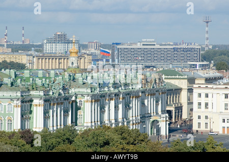 A view of the Winter Palace from Saint Isaac s in Saint petersburg Russia - Stock Photo