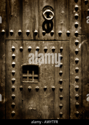 Detail of Porta del Palau (Romanesque, 13th century). Cathedral of Valencia. Spain - Stock Photo