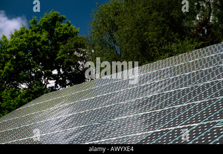PICTURE CREDIT DOUG BLANE Roof of photovoltaic solar panels - Stock Photo