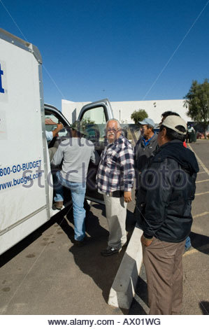 Immigration Activist Salvador Reza at the Macehaulli Work Center in North Phoenix Arizona migrant worker pick up - Stock Photo