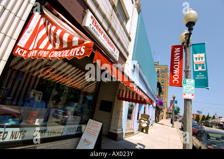 Beernstens Candies in Manitowoc WI is a well-known candy store and ice cream parlor. - Stock Photo