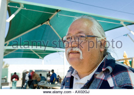 Immigration Activist Salvador Reza at the Macehaulli Work Center in North Phoenix Arizona interview talking about - Stock Photo
