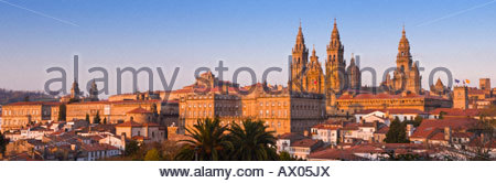 Panoramic view of the cathedral, Santiago De Compostela, Galicia, North West Spain. - Stock Photo