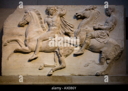 Elgin Marbles horsemen from marble frieze on north side of Parthenon Athens 4th fourth century C BC British Museum - Stock Photo