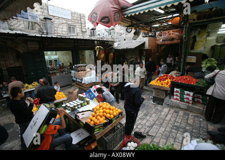 Food for sale at a market in the old city section of Jerusalem - Stock Photo