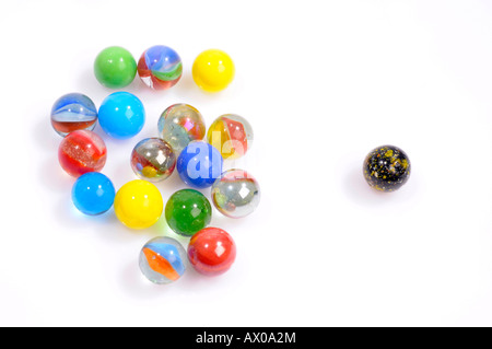 Marbles, one singled out - Stock Photo