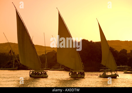 Feluccas on River Nile, Aswan, Egypt - Stock Photo