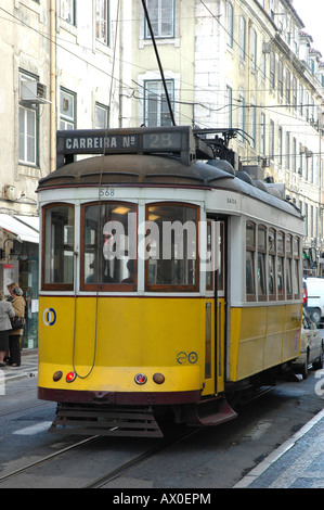 Electrico28, traditional tram in Lisbon, Portugal, Europe - Stock Photo
