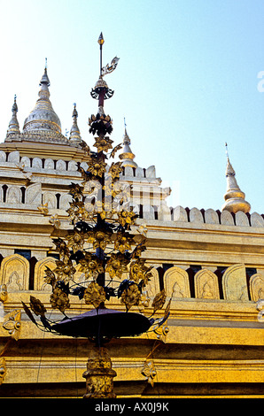Golden stupa of the Shwezigon Paya at the archaeological ruins of Bagan Burma Myanmar - Stock Photo