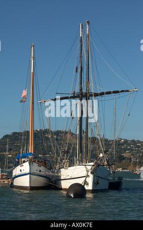 Sail boats at anchor and tied to a buoy in San Francisco Bay, Sausalito, California - Stock Photo