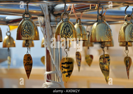 Wishing bells, Golden Mount, Bangkok, Thailand, Southeast Asia, Asia - Stock Photo