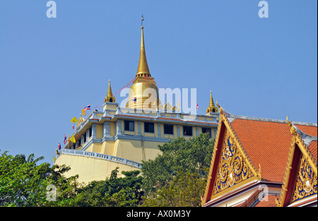 Gilded stupa, Golden Mount, Bangkok, Thailand, Southeast Asia, Asia - Stock Photo