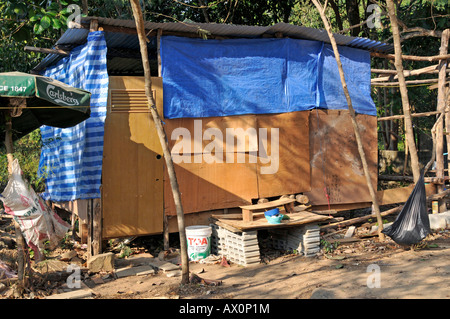 Shack housing migrant workers in Koh Chang, Thailand, Southeast Asia, Asia - Stock Photo