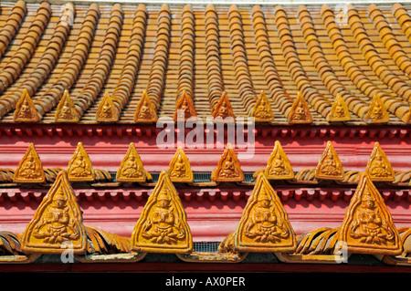 Roof ornamentation, Marble Temple (Wat Benchamabophit), Bangkok, Thailand, Asia - Stock Photo