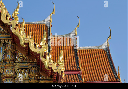 Roof of the Marble Temple (Wat Benchamabophit) and Chofahs (sky tassels), Bangkok, Thailand, Asia - Stock Photo
