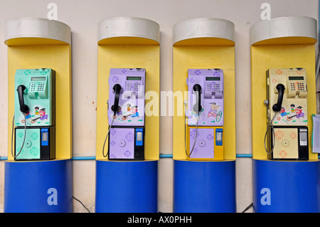 Public telephones, Sukhothai, Thailand, Southeast Asia, Asia - Stock Photo
