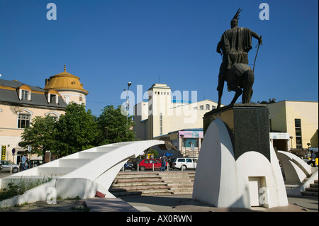Serbia, Kosovo, Prishtina, Statue of Albanian Hero Skanderbeg (Gjergi Kastrioti)  at National Theater Square - Stock Photo