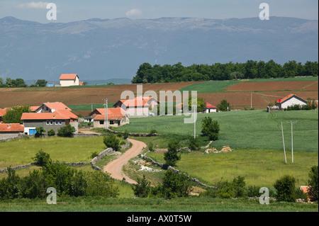 Serbia, Kosovo, Balince, View of Muslim village of Balince rebuilt after Serbia - Kosovo War - Stock Photo