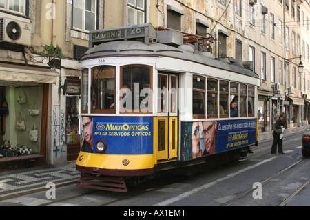 Tram, Lisbon, Região de Lisboa, Portugal, Europe - Stock Photo