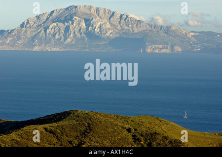 Strait of Gibraltar and African coast of Morocco, seen from Mirador del Estrecho, a viewpoint on highway N-340, - Stock Photo