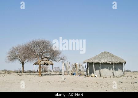 African hut at the Sowa Pan, Makgadikgadi pans, Botswana, Africa - Stock Photo