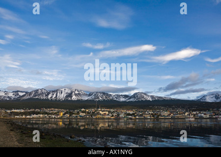 Morning light, Ushuaia, most southerly town of the world, Tierra del Fuego, Argentina, South America - Stock Photo