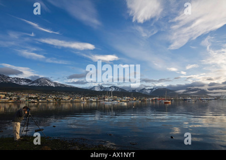 Photograph in the bay from Ushuaia, most southerly town of the world, Tierra del Fuego, Argentina, South America - Stock Photo