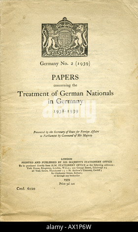 HMSO Paper 1939 Treatment of German Nationals in Germany 1938 - 1939 HM Government White Paper FOR EDITORIAL USE - Stock Photo