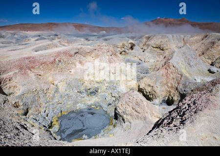 Geysers Sol de Manana, Altiplano, Bolivia, South America - Stock Photo