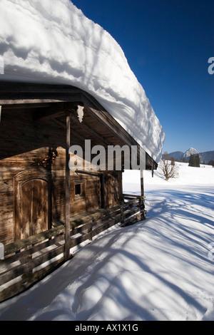 Koenigsalm (Alpine pasture) in wintertime, Bavaria, Germany, Europe - Stock Photo