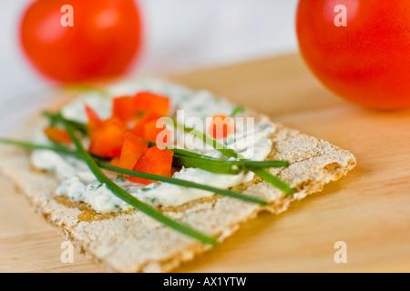 Crispbread with cream cheese - Stock Photo