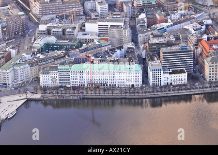 View of the Binnenalster lakes and the Four Seasons Hotel in Hamburg, Germany, Europe - Stock Photo