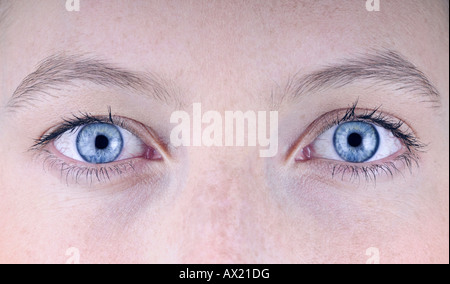 A young woman's blue eyes - Stock Photo