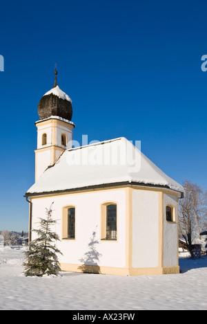 Chapel in Hundham in winter, Bavaria, Germany - Stock Photo