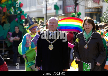 ulster unionist belfast lord mayor jim rodgers and sdlp deputy lord mayor bernie kelly leading parade carnival st - Stock Photo