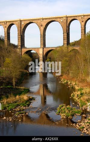 Technical monument Railway Viaduct Goehren bridging the valley of the river Zwickauer Mulde, Goehren, Saxony, Germany - Stock Photo