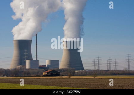 Nuclear power plant, Gundremmingen, Swabia, Bavaria, Germany, Europe - Stock Photo