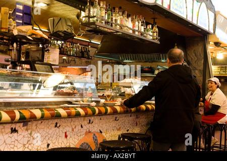 bar in the merkat de boqueria  Barcelona Spain - Stock Photo