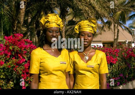 Travel, Senegal, Dakar, Two local young women in national dress, - Stock Photo
