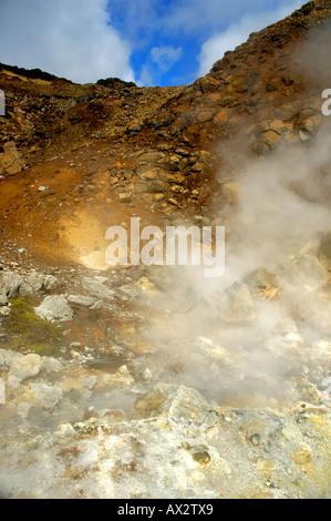 Steaming hot springs at Seltun Krysuvik Iceland - Stock Photo